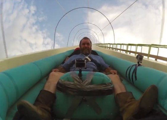 First Launch: The World's Tallest Waterslide. Rider Looks Bored?