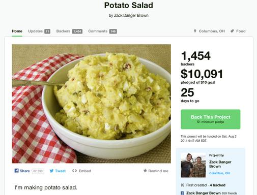 Potato salad on Kickstarter: The project has raised more than $40,000.