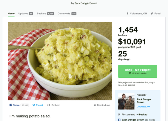 Potato salad on Kickstarter: The project has raised more than $40,000.