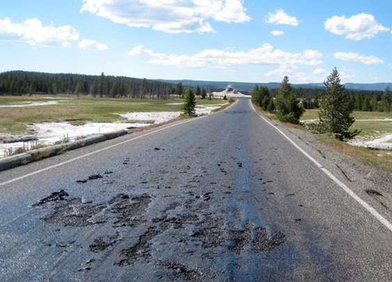 Too hot: Yellowstone road melts