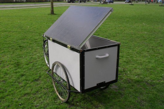 Housetrike three-wheeled camper shelters homeless nomads