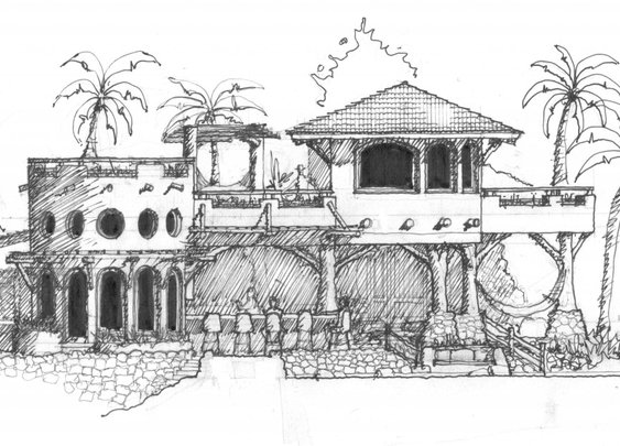 Mexico Beach House Sketch