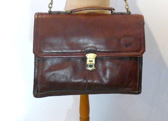 Vintage 1980s lockable brown leather brief case or by evaelena