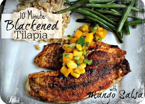 Blackened Tilapia cooked in a hot cast iron pan