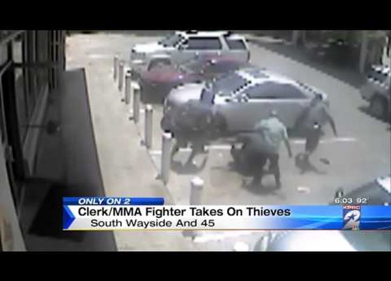 Gas Station Clerk With MMA Training Surprises Thieves - YouTube