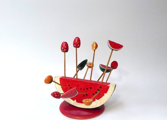 Vintage wooden watermelon fruit toothpick cocktail set by evaelena