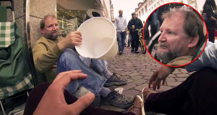 A young man asks a homeless man to borrow his bucket - The Mind Awakened