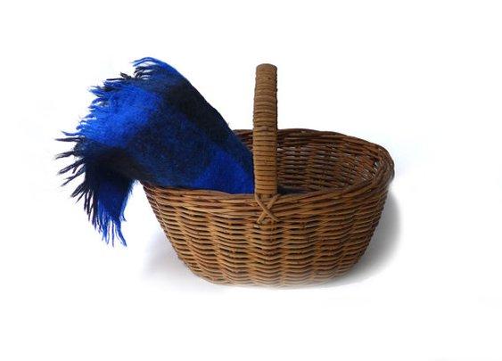 Vintage retro blue plaid mohair wool picnic travel by evaelena
