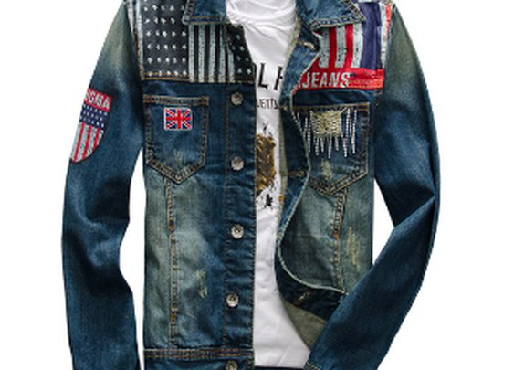 Men's Demin Jacket with Flag