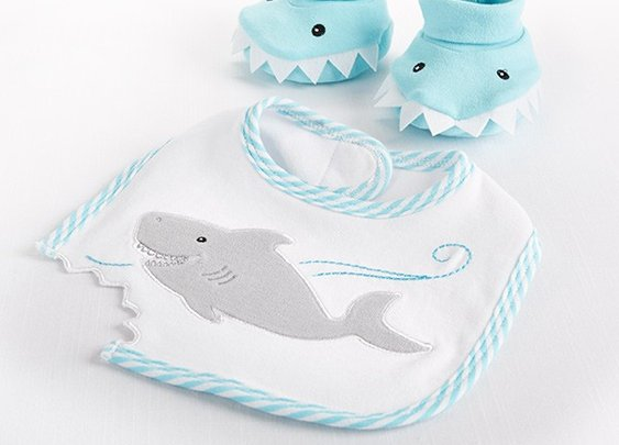 Chomp & Stomp - Shark Bib and Booties Gift Set by Baby Aspen
