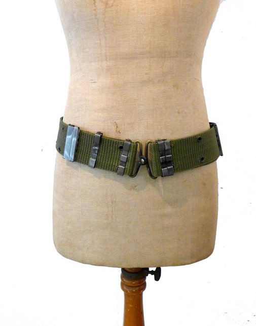 Vintage khaki green webbing military army ammo belt by evaelena
