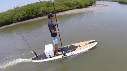 WaveJet electric jet-drive angler paddleboard swims with the fishes