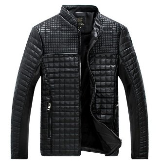Men's Quilted PU Leather Jacket with Inner Fur
