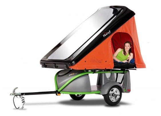 GO-Easy ultralight trailer/camper rides behind a motorcycle or small car
