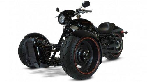 Scorpion kit converts a Harley V-Rod into a reverse trike