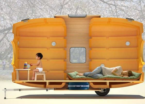 Taku-Tanku portable tiny house can be towed by bike