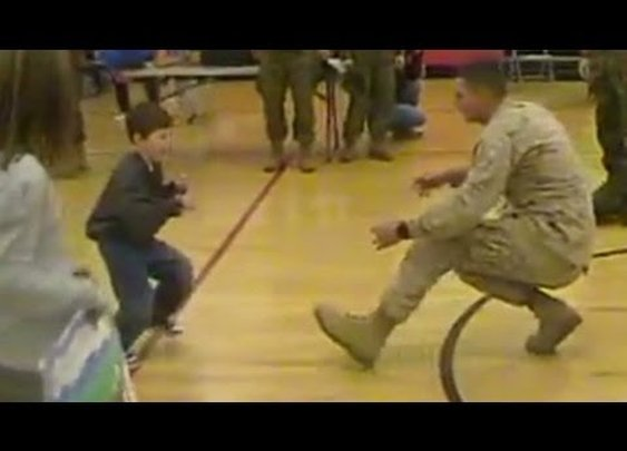 A boy with cerebral palsy walks to his Marine dad for the first time - YouTube