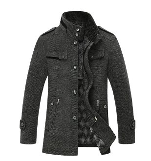 Mens Military Jacket with Stand Collar