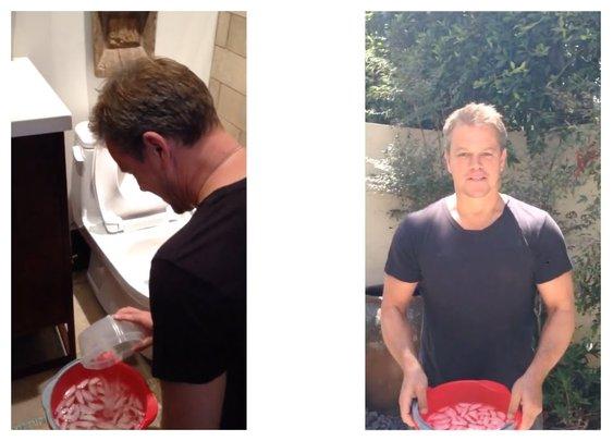 Matt Damon Does ALS Challenge With... Toilet Water.