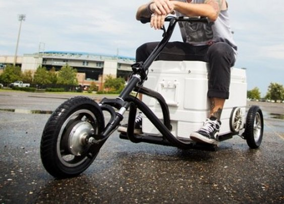 The Kreweser motorized music trike keeps your drinks cold