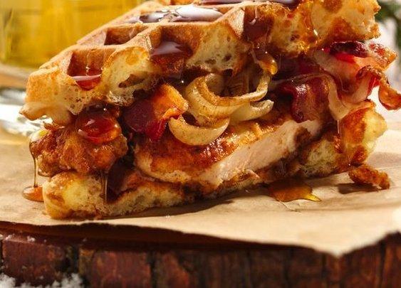 Mantastic Fried Chicken and Waffle Sandwich recipe from Betty Crocker