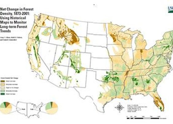 """Northern Research on Twitter: """"""""Net Change in Forest Density, 1873-2001,"""" is 128 years of forest #history at a glance."""