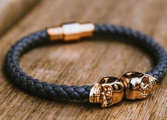 Twin Skull Leather Bracelet