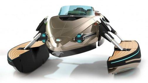 High-tech watercraft transforms from monohull, to catamaran, to trimaran, to hydrofoil