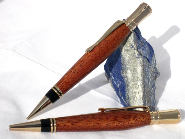 Wood Pen Pencil Set in exotic sapele wood with 24k by Hope & Grace Pens