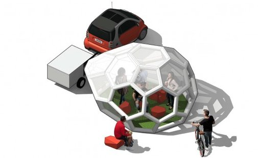 The Pneumad portable shelter inflates itself