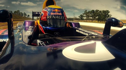 A Race Between a Sport Bike, a V8 Supercars Race Car, and a Formula 1 Race Car