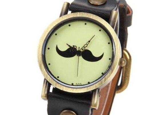 Mustache Patterned Design Cheap Watch with Round Dial and Leather Band-4.66 and Free Shipping| GearBest.com