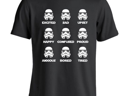 Storm Trooper Emotions Funny Adult T-Shirt - Whimsical & Unique Gift Ideas for the Coolest Gift Givers