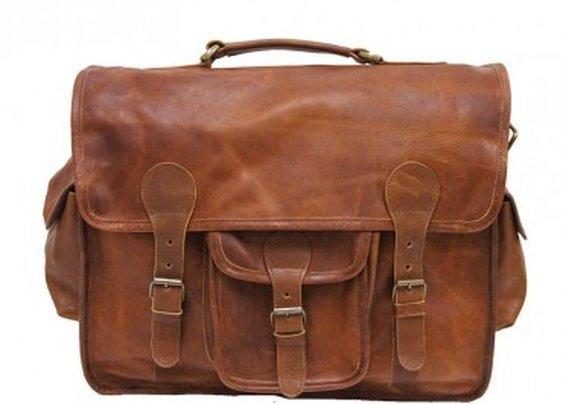 "Vintage Leather Briefcase 16"" ruavintage.com"