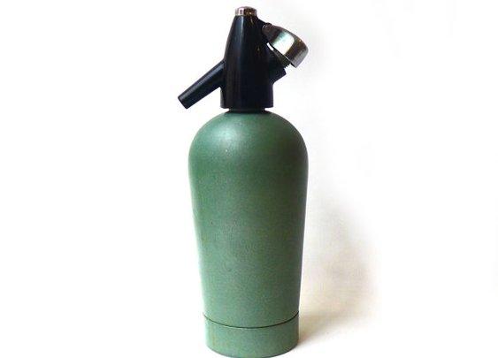 ON SALE Vintage mid century green BOC soda syphon by evaelena