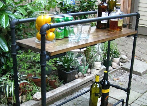 DIY Pipe Bar Cart