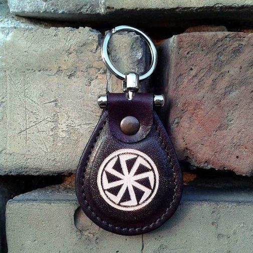 Kolovrat Leather Keychain  Slavic Mythology Sun God Svarog by snis