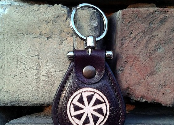 Kolovrat Leather Keychain  Slavic Mythology Sun God Svarog by snis