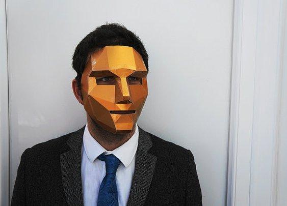 Polygon face mask by Wintercroft on Etsy