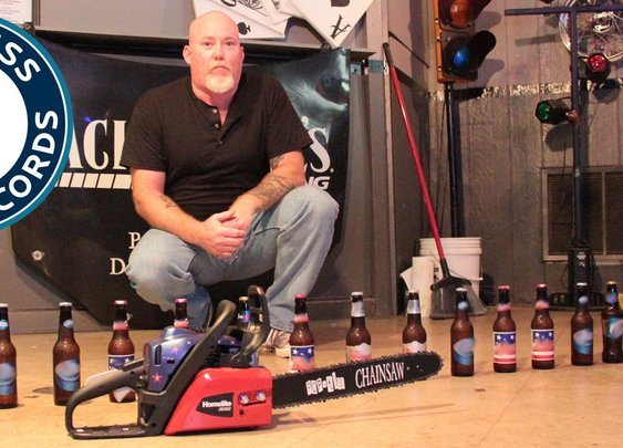 Florida Man Breaks a World Record by Opening 18 Beer Bottles With a Chainsaw in One Minute