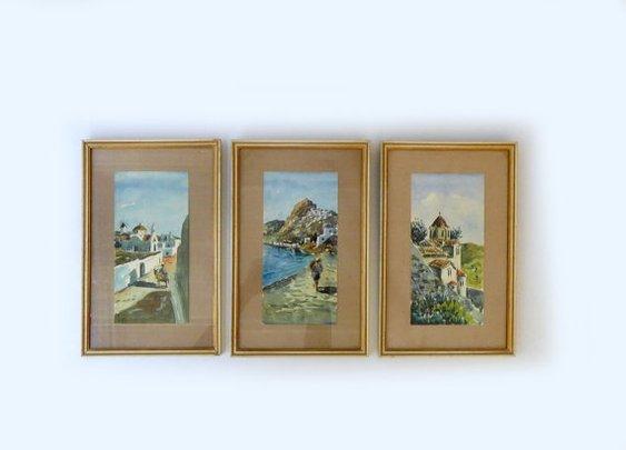 Vintage original 1960s set of three watercolour by evaelena