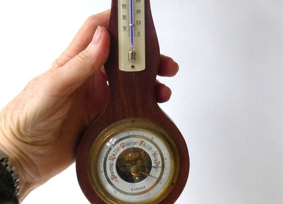 Vintage small colonial style barometer and thermometer by evaelena