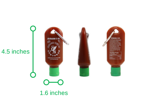 Sriracha2Go: A miniature refillable sriracha bottle.