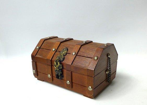 Vintage small wood pirate treasure chest trinket box by evaelena
