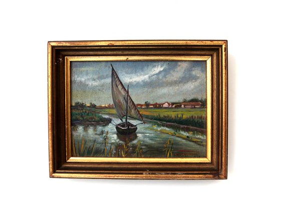 Vintage original oil painting country river sailboat by evaelena