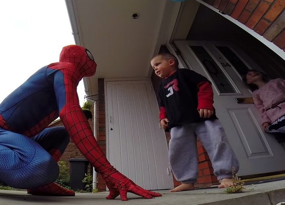 Spider-Dad surprises terminally ill son for his 5th birthday