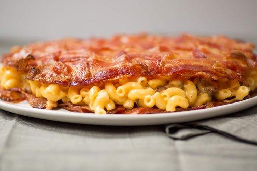 Bacon Weave Mac and Cheese Quesadilla