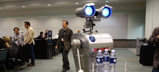There's A Robot Delivering Individual Water Bottles At The LA Auto Show