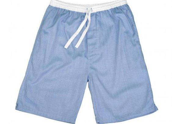 Blue Herringbone Sleep Shorts - Sant and Abel