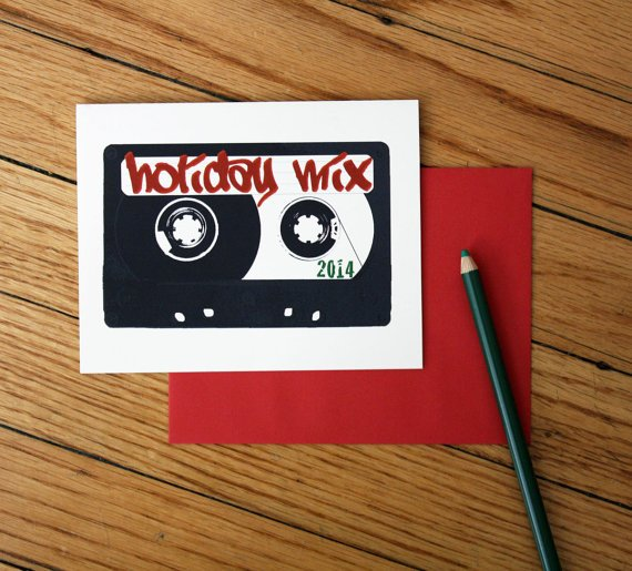 Holiday Mix 2014 card mix tape christmas by blackbirdandpeacock